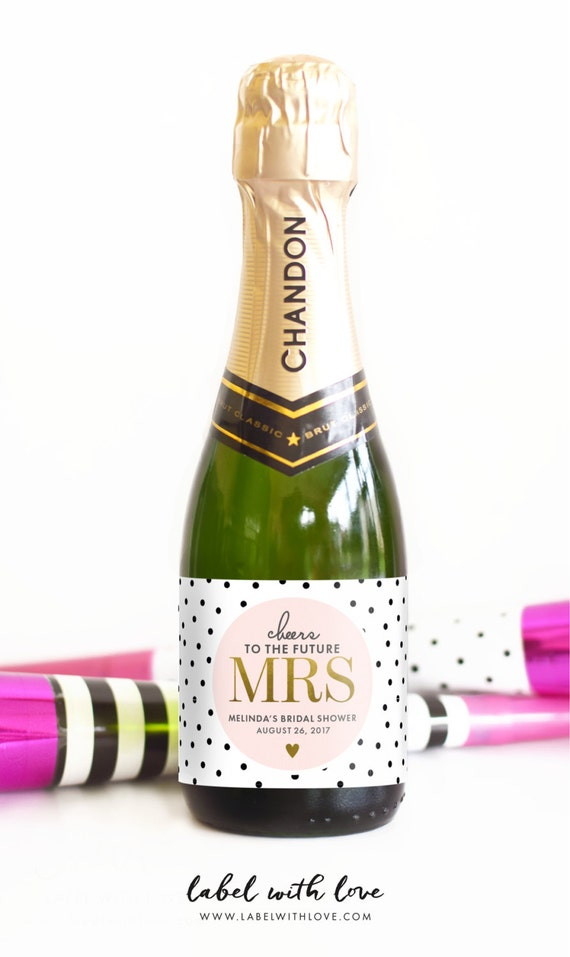 Bridal Shower Mini Champagne Bottle Labels Weatherproof