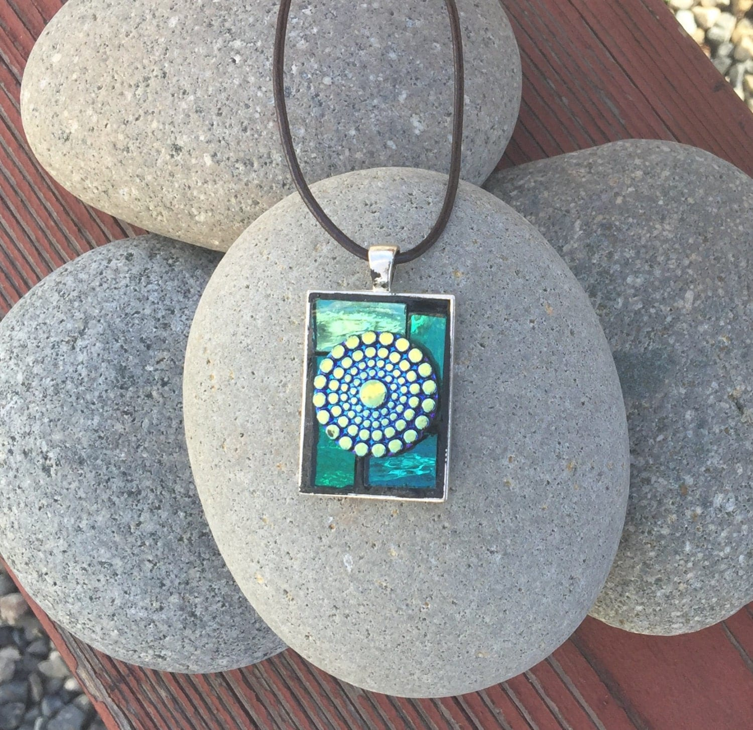 Unique Mosaic Pendant With Green Mirror Tile By MyMosaicMess