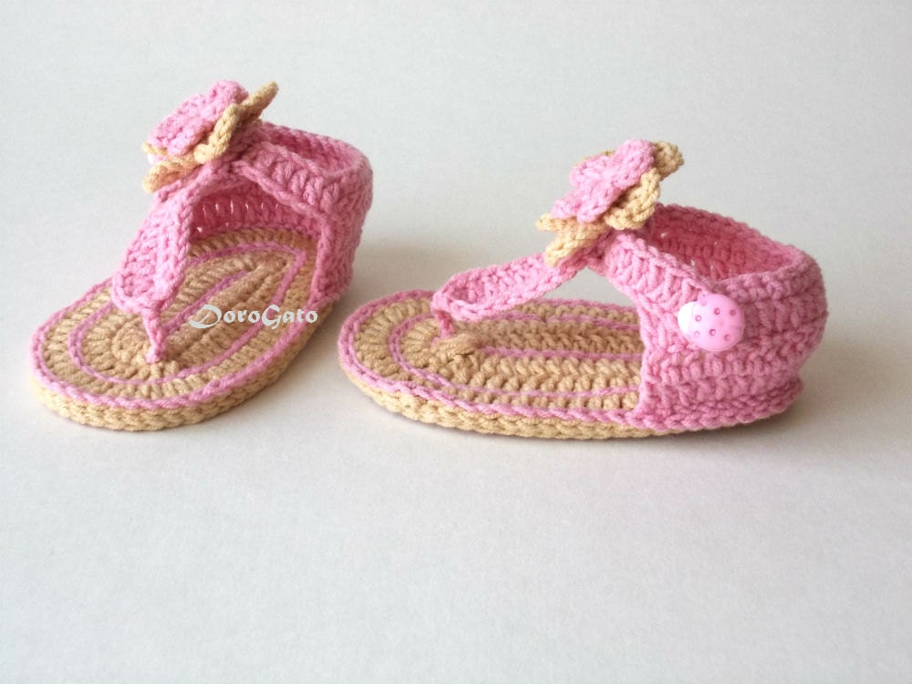 Simple Crochet Patterns For Baby Booties : Crochet Baby Sandals Pattern, Tutorial crochet slippers ...