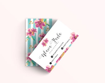 Aqua Business Cards Design - Floral Business Cards - Perfect For Your Small Business!