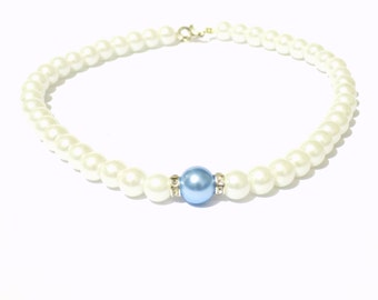 White and light blue pearl necklace, white pearl necklace, blue pearl necklace, beaded necklace, bridesmaid necklace, bridal necklace