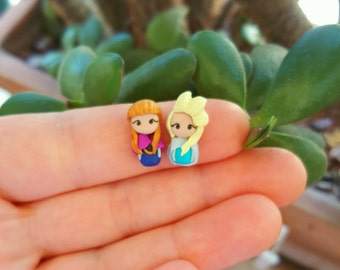 Anna and Elsa from Frozen, stud earrings or magnetic earrings, inspired by movie Frozen . Disney jewelry.