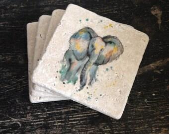 Elephant stone coasters Puddle Paints artwork -elephant design - art - water colour - painting - gift - wildlife - African animal Jungle