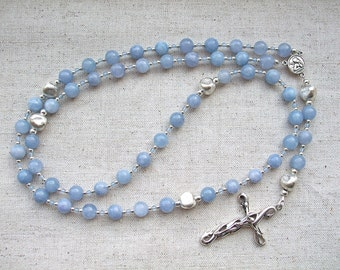Angelite, Aquamarine and Hill Tribe Silver Dominican Five Decade Rosary, Sterling Silver Crucifix