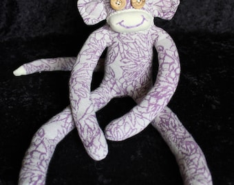Sock Monkey / Organic Cotton / Wood Button Eyes / Purple and Ecru Flower Pattern / Organic Gift for Children and Adults / Organic Baby Gift