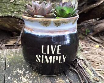 Cactus/Succulent Planter - Live Simply - Black Planter - Wheelthrown Pottery