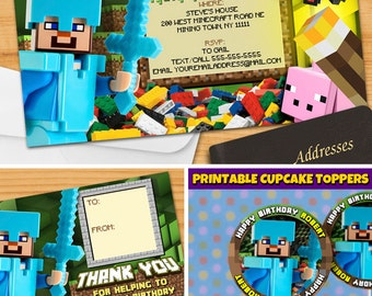 Minecraft™ Birthday Invitation - Minecraft Printable Invitation - PERSONALIZED Minecraft™ Party Invite