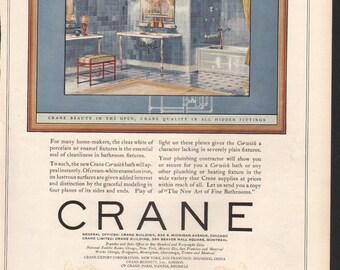 Magazine ad for Crane bathroom fixtures, hidden fittings, ultra modern for the twenties, 1929 - PD000776
