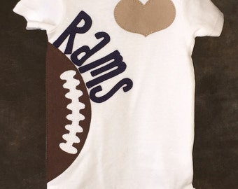 Los Angeles Rams Personalized Heart OR Bow Team Football Bodysuit