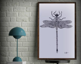 Original Art, Dragonfly, Ink and Pencil Drawing, fine Art