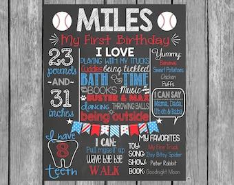 Baseball First Birthday Personalized Chalkboard Printalbe - Boy First Birthday - Little Slugger - Sports -  Birthday