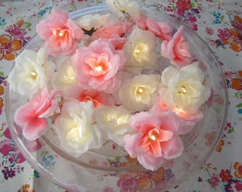 20 Shabby chic flower fairy lights, White and bright pink rose fairy lights - fairy string lights - flower lights