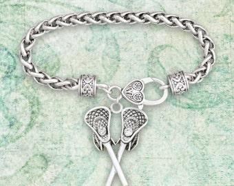 Lacrosse Sticks Braided Clasp Bracelet - 54870