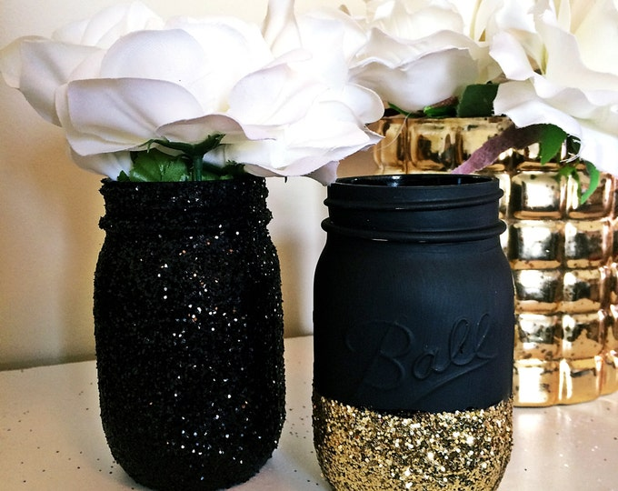 Black Gold Mason Jar, Party Supplies Decor, Baby Shower Ideas, Baby Shower  Decorations
