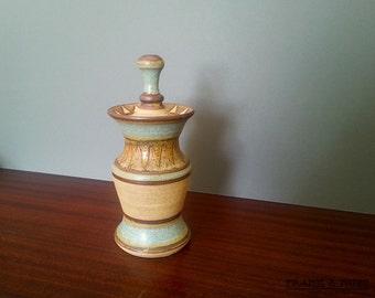 Vintage studio pottery tall jar with lid, unusual, 70's, stoneware, England