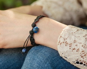 Braided leather bracelet lapis lazuli
