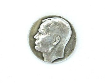 Cosmonaut, Badge, Yuri Gagarin, Space, Cosmos, Rare Soviet Vintage metal collectible pin, Soviet era, Made in USSR, 1970s