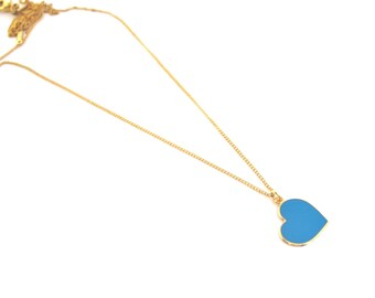 Romantic Gift For Her, Valentines Gift For Her, Turquoise Heart Necklace, Turquoise Heart Pendant, Gold Turquoise Necklace