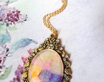 Iridescent cameo Necklace Cameo pendant Victorian jewelry Victorian necklace Estate jewelry Victorian costume Opera Jewelry Lady costume