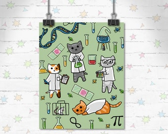 Science Cat Print, Cute Cat Print, Children's Decor, Kids Room, Cute Art, Educational Art, Art Print, Giclee Print, Archival Print