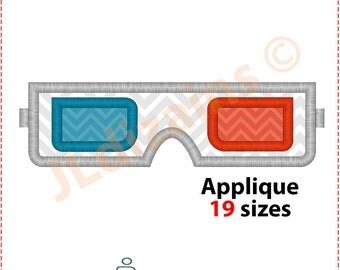 3D Glasses Applique Design.  3D glasses embroidery design. Glasses embroidery design. Machine embroidery design