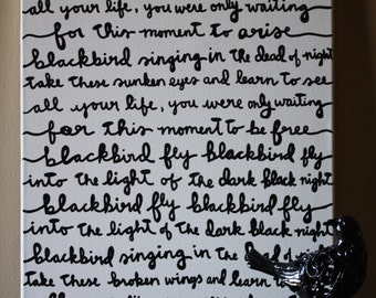 Blackbird Beatles Lyric Painting 16x20