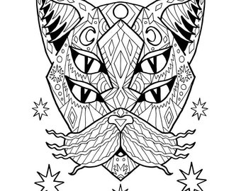 Adult Coloring PDF Cat Page Good Vibes Only Stress Relief Gifts