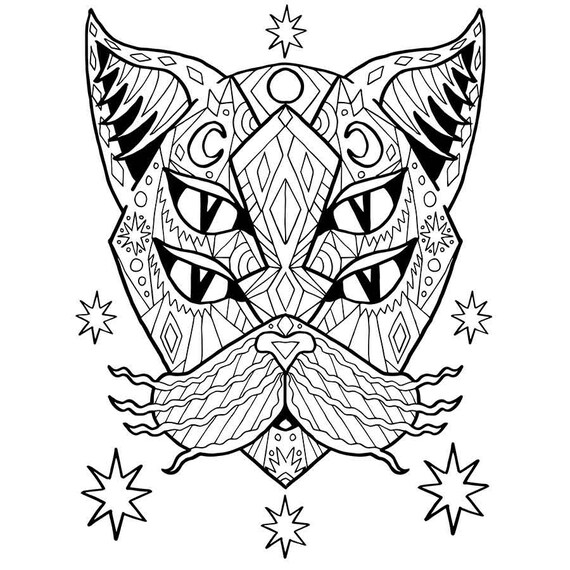 Adult Coloring PDF Cat Coloring Page Good Vibes Only Stress