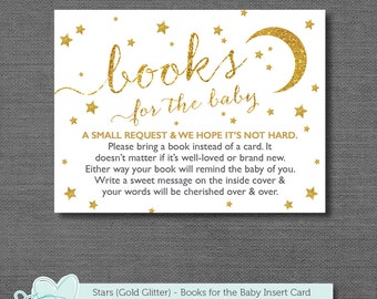 Gold Glitter And White Stars Bring A Book For The Baby Insert Card, Books  For