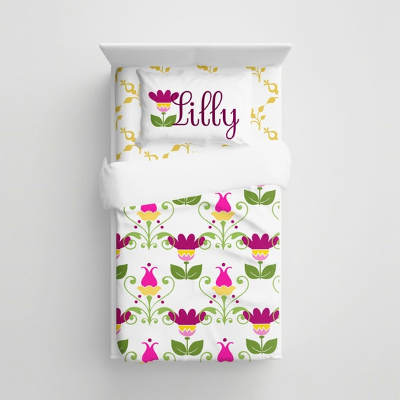 Custom kids art deco floral bedding personalized flowers kids bedding set baby crib bedding - Deco babybed ...
