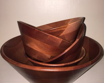 MidCentury decorative WOOD SALAD SET, 5 piece set Large serving bowl with matching  individual bowls, Made in Japan, Gorgeous patterned wood