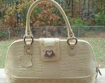 Vintage Marc Chantal M.C.Embossed Faux Alligator Cream  Leather Top Handle Handbag Purse