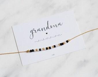 GRANDMA Morse Code Necklace, Grandma Morse Code Jewelry, Gift for grandma, Dainty Jewelry, Make a wish jewelry, Gift for her, Birthday gift