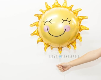 Happy Sun Balloon, Sunshine Balloon, Sun Birthday Party, Summer Party Balloon, You Are My Sunshine Party Theme, Smiley Sun Balloon