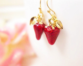 Strawberry Earrings, Gold Leaf Earrings, Gold Nature Earrings, Fruit Earrings, Cute Earrings, Childrens Jewelry, Gift for Little Girls Gifts
