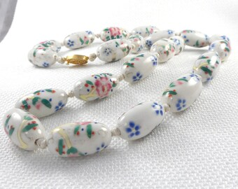 Vintage Pastel Oval Chinese Porcelain Bead Necklace Hand Tied Big Pastel Chinese Bead Necklace Porcelain Chinese Bead Necklace