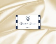 Nautical Place Cards Template, Diy Navy Blue Striped Anchor Wedding Tent Seating Name Card Printable, Editable Text, Instant Download P200