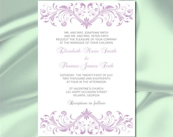 lilac wedding invitation template diy purple silver gray bridal shower party invites printable cards - Purple And Silver Wedding Invitations
