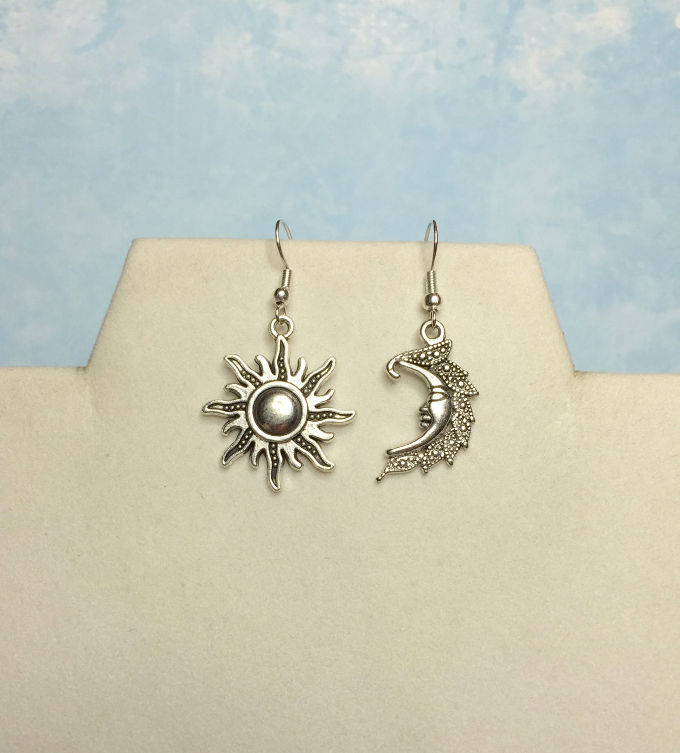 sun and moon earrings moon and sun by crystalinascreations