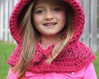 Ready to ship Hooded Cowl,Hooded Scarf,Red Hooded Cowl,Girls Hooded Cowl,Kids Hooded Cowl,Teen Hooded Cowl,Crochet Hooded Cowl