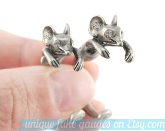 Realistic Mouse Mice Shaped Fake Gauge Front and Back Earrings in Silver | Unique Animal Themed Faux Ear Piercings
