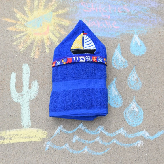 Sail Boat Sail Boat Hooded Towel Personalize Towel Beach
