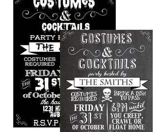 Costumes and cocktails invite, custom halloween invitations, costumes & cocktails invitation, black and white halloween invite, INVHWN05