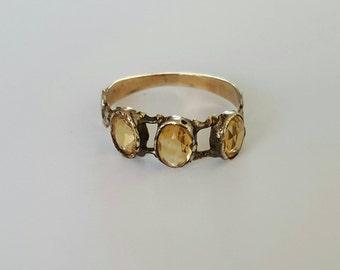 Early Victorian three stone citrine ring