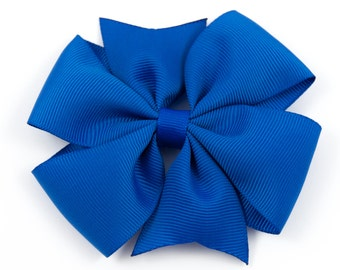 Blue Hair Bow, Blue Pinwheel Hair Bow, Blue Pinwheel Bow, Blue Basic Bow, Blue Pinwheel Hair Clip (Item #10221)
