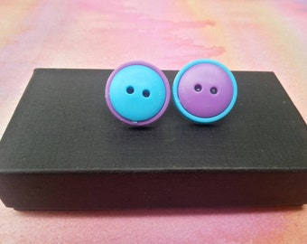 Cute as a Button Earrings - Mix not Match - Purple and Blue