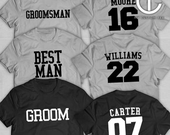 7 Groomsmen Shirts - Bachelor Party with Number - Sports Theme - Groomsman - Set of 7 T-Shirts Tee Custom Customizable
