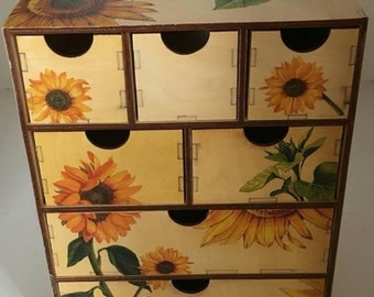Makeup Organizer, Makeup Storage, makeup holder, brush holder, sunflower accessories, sunflower decor, jewelry chest, jewelry organizer