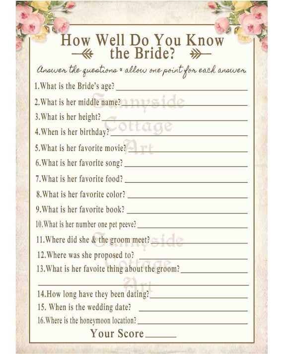 How Well Do You Know The Bride: How Well Do You Know The Bride Game By SunnysideCottageArt