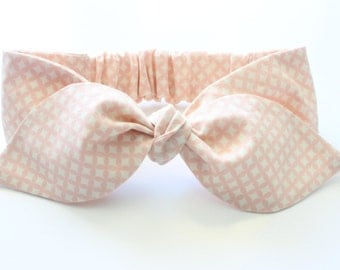 Baby headband, baby knotted headband - dusty pink diamonds